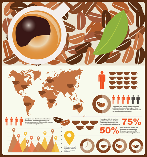 Coffee infographics business template design vector 02 free