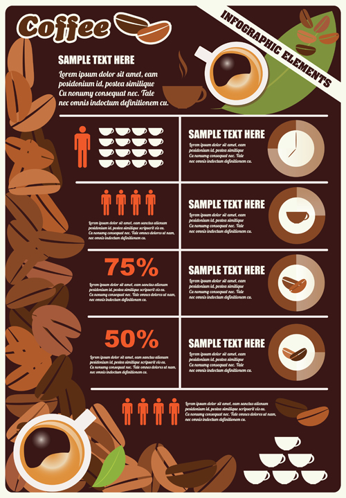 Coffee infographics business template design vector 05 free