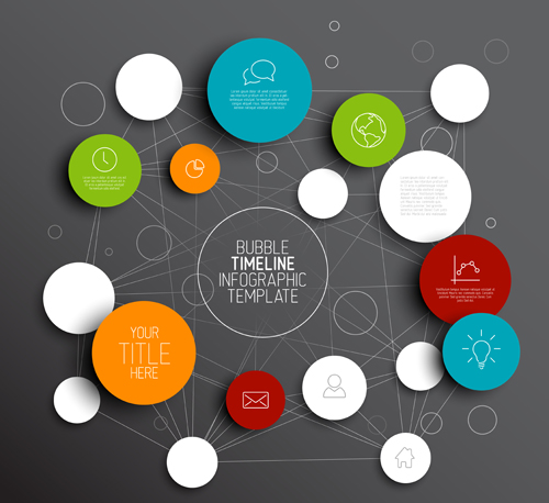 Colored circles infographic template vector graphics 03 free