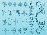 Vintage Flower Swirls vector free