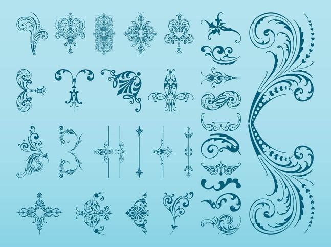 Vintage Flower Swirls vector free