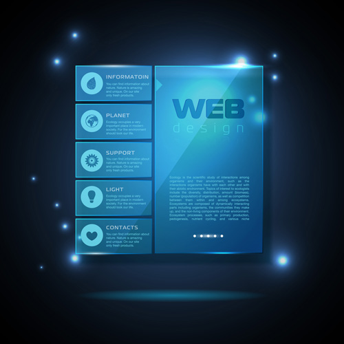 Blue web infographics template design vector 02 free
