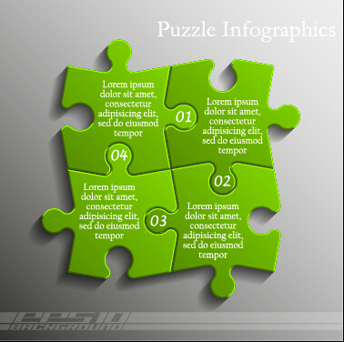 Creative puzzle infographic template vector 05 free