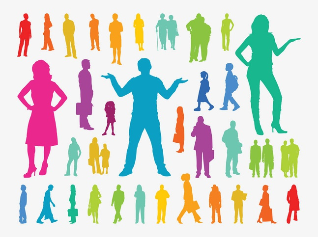 Colorful People Silhouettes vector free