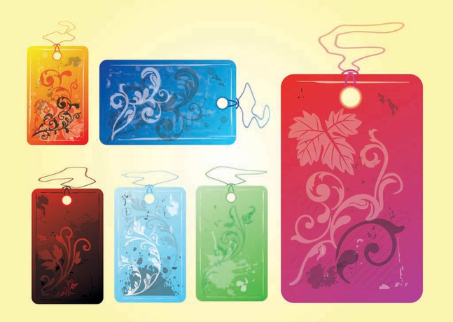 Cool Flower Tags vector free