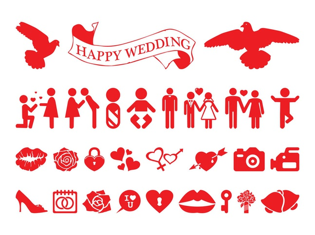 Love And Marriage Icon Set vector free