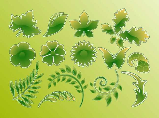 Green Glossy Vector Leaves free