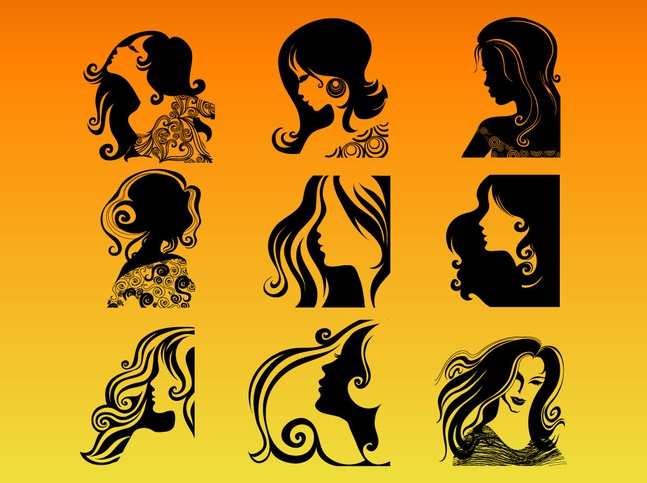 Woman Profile Silhouettes vector free