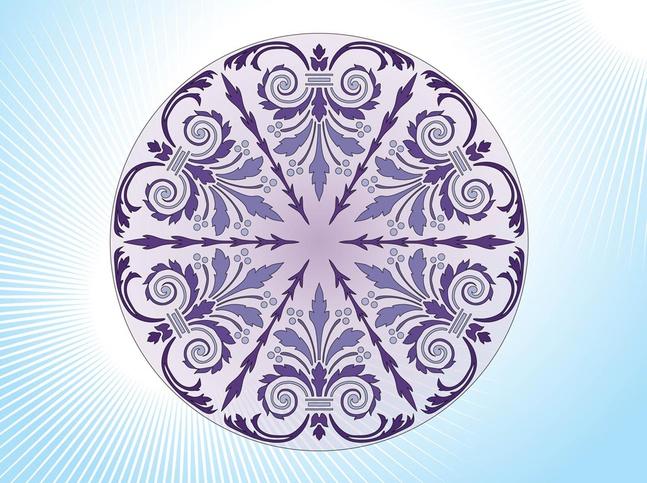Antique Floral Circle vector free