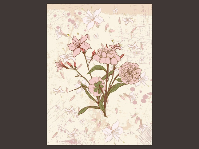 Retro Floral Card vector free