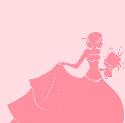 Beautiful bride design vector silhouette 01 free
