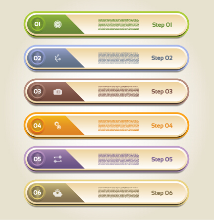 Classic business numbered vector banners 03 free