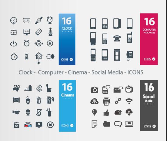 Clock – Computer – Cinema – Social Media icons vector free
