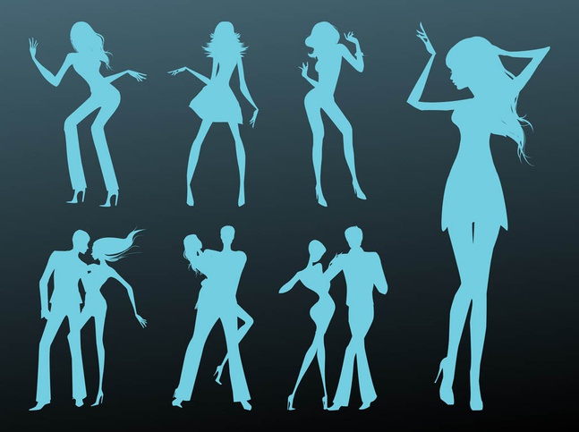 Dancing Girls And Couples vector free