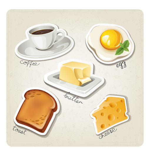 Different breakfast food vector icons  01 free