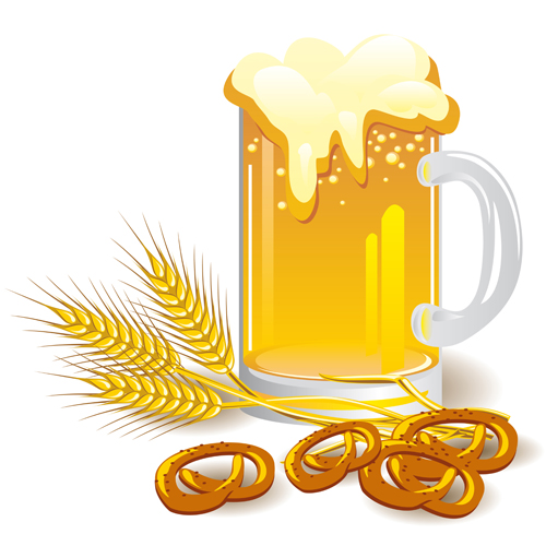 Glass beer with bagels vector  free
