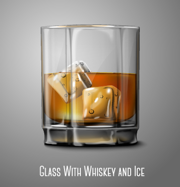 Glass cup with whiskey and ice vector free