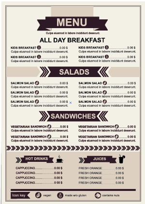 restaurant menu price list template vector 02 free free download