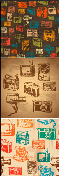 Retro hand drawn recorder with TV and camera vector patterns free