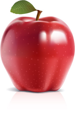Shiny red apple vector  free