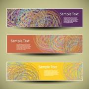 Web header abstract banner vector set 03 free