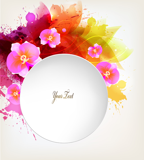 Beautiful watercolor floral vector background 02 free