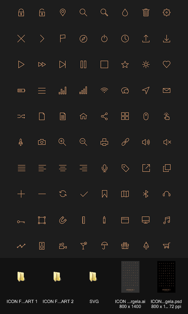 80 kind golden stroke icons free