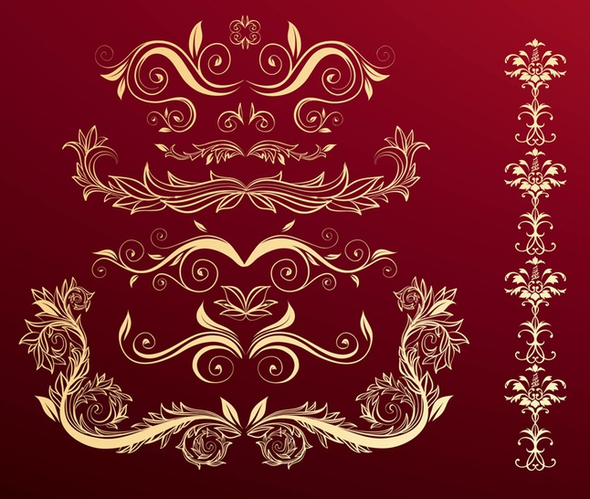 Flower Scrolls Red vector free