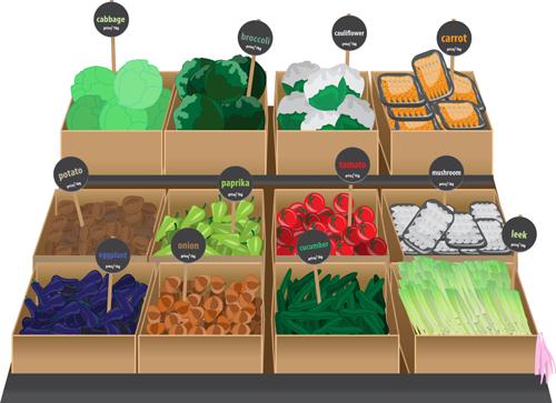 Food supermarket design vector graphics 03 free