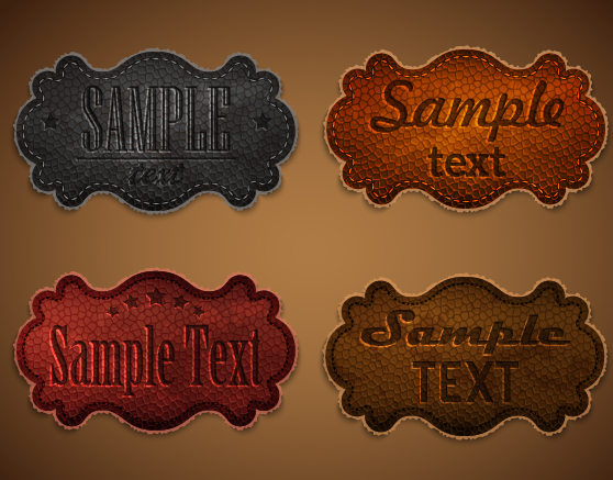 Old leather labels design vector graphics 04 free