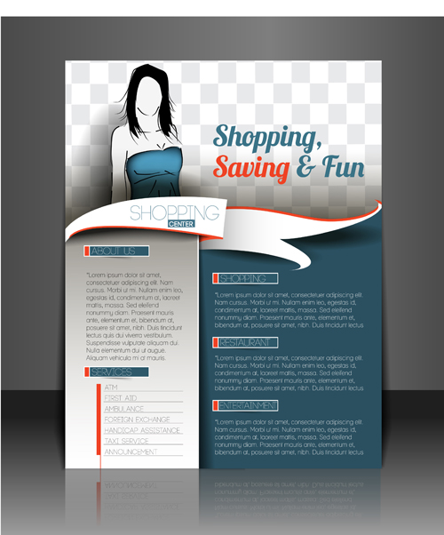 Shopping flyers cover with girl vector illustration 02 free