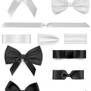 Black with white bow ribbon vector free