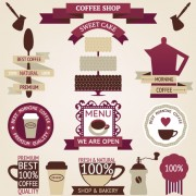 Coffee menu labels and ribbon banner vector 02 free