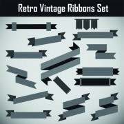 Gray retor ribbon vector set 02 free