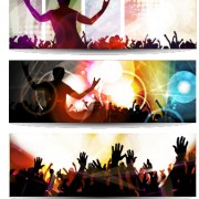 Music party creative banner vector graphics 05 free