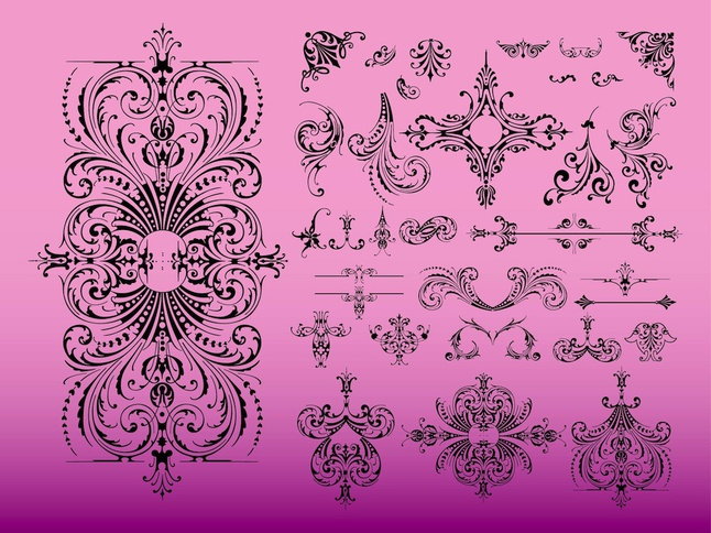 Vintage Swirls vector free