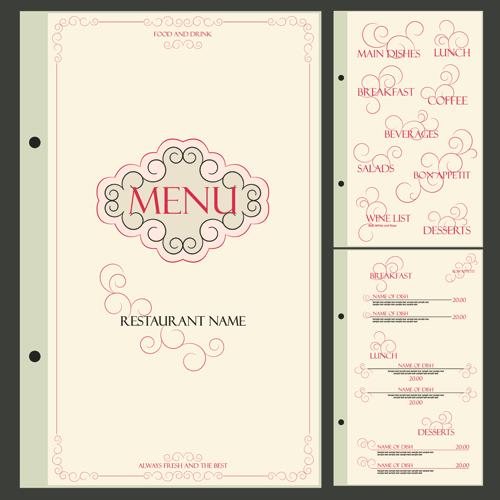 Classic retro restaurant menu cover vector  02 free