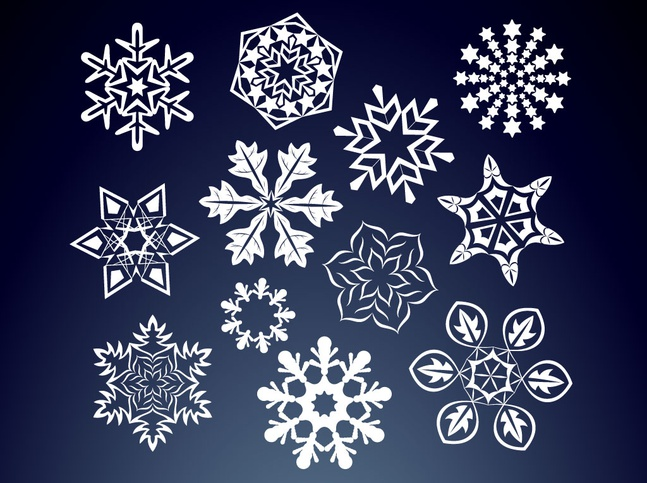 Floral Snow Flakes vector free