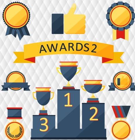 Medals with cup and awards elements vector set 05 free
