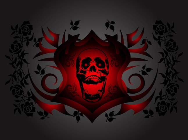 Skull And Roses vector free
