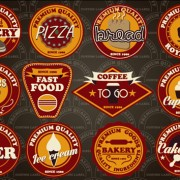 Fast food and drink different colored labels vector 04 free
