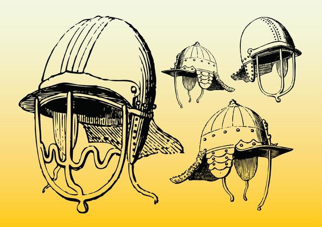 Antique Helmets vector free