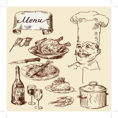 Drawing foods retro illustrations vector 06 free