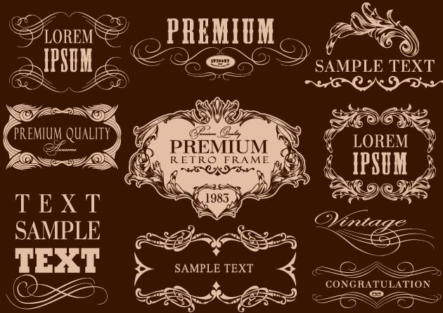 Retro calligraphic frame labels decor vector 03 free