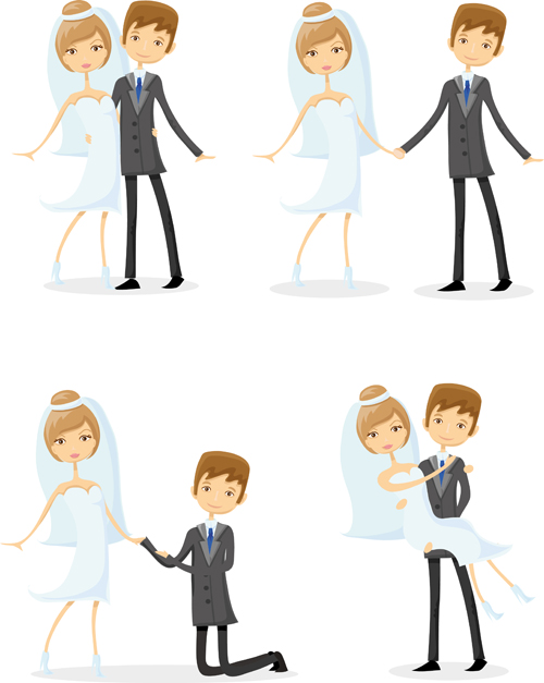 Romantic bride and groom design vector 01 free