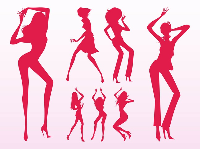 Sexy Dancing Girls Silhouettes vector free