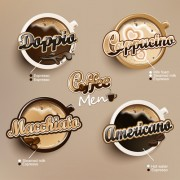 Modern coffee labels with elements vector 02 free