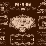 Retro calligraphic frame labels decor vector 03 free