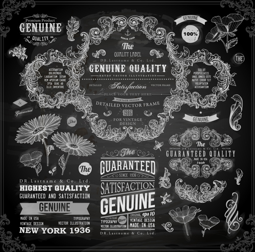 Vintage ornaments covers for labels and frame vector 03 free