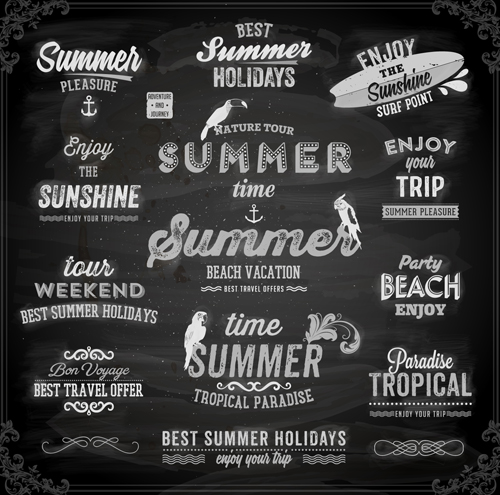 Vintage summer logos with ornaments design vector 01 free
